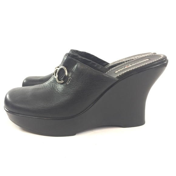Tommy Hilfiger Shoes Girl 10 Black Leather Wedge Mules Poshmark